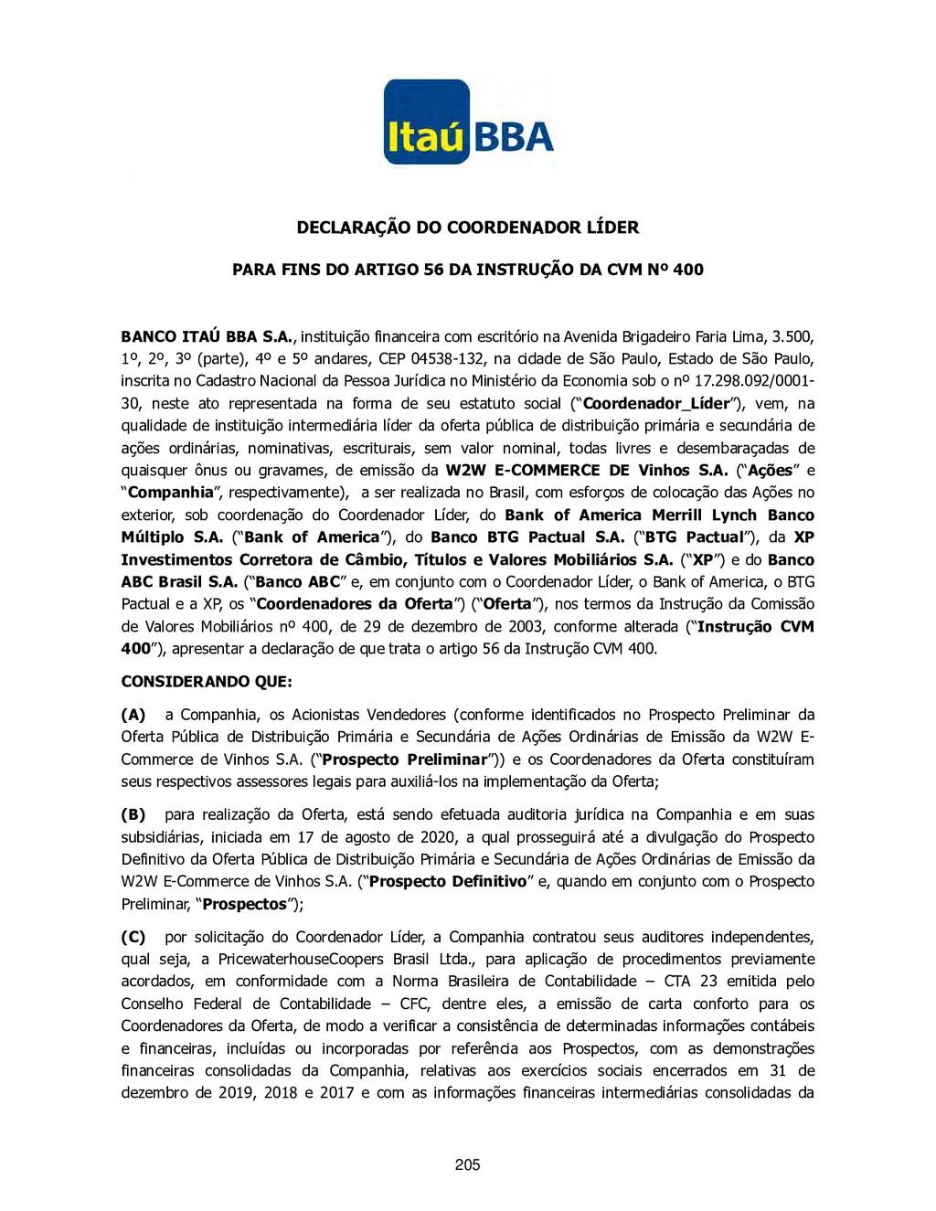DECLARAÇÃO DO COORDENADOR LÍDER PARA FINS DO AR...