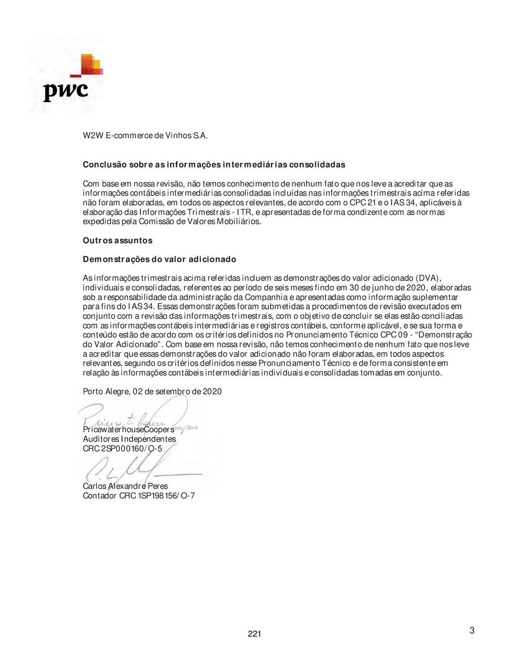 W2W E-commerce de Vinhos S.A. 3 Conclusão sobre...