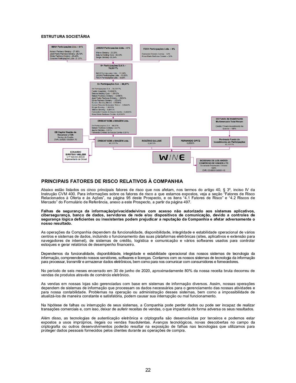 22 ESTRUTURA SOCIETÁRIA PRINCIPAIS FATORES DE R...