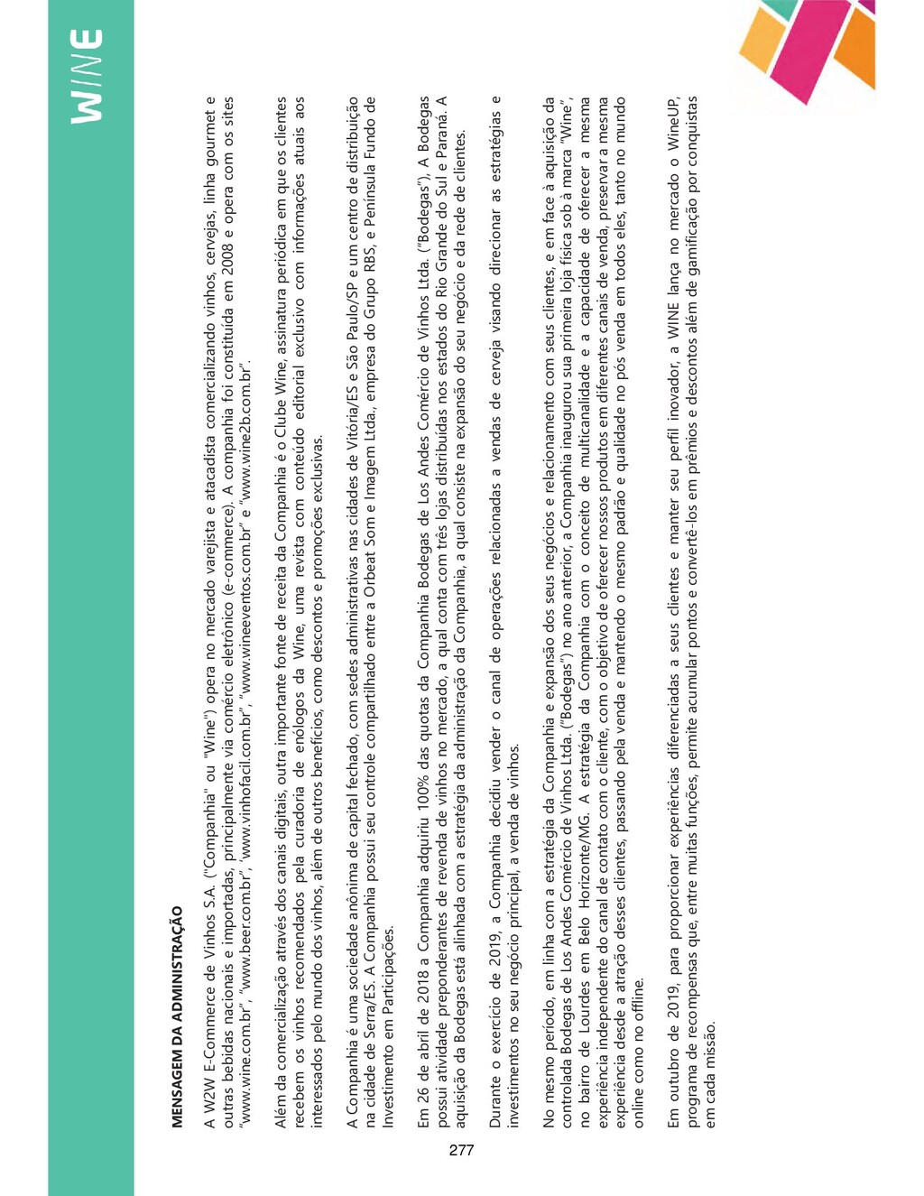 MENSAGEM DA ADMINISTRAÇÃO A W2W E-Commerce de V...