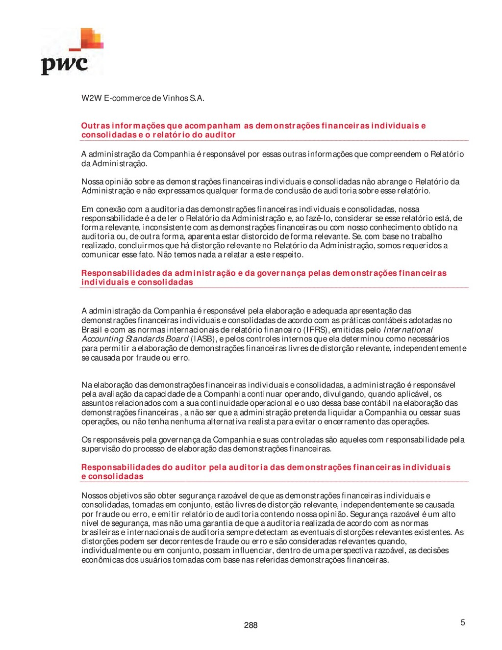 W2W E-commerce de Vinhos S.A. 5 Outras informaç...