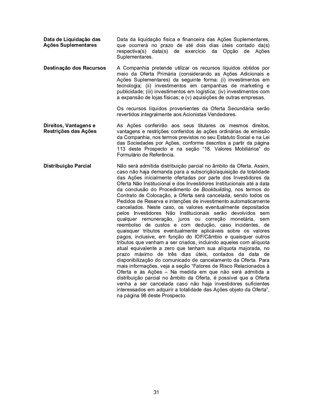 31 Data de Liquidação das Ações Suplementares D...