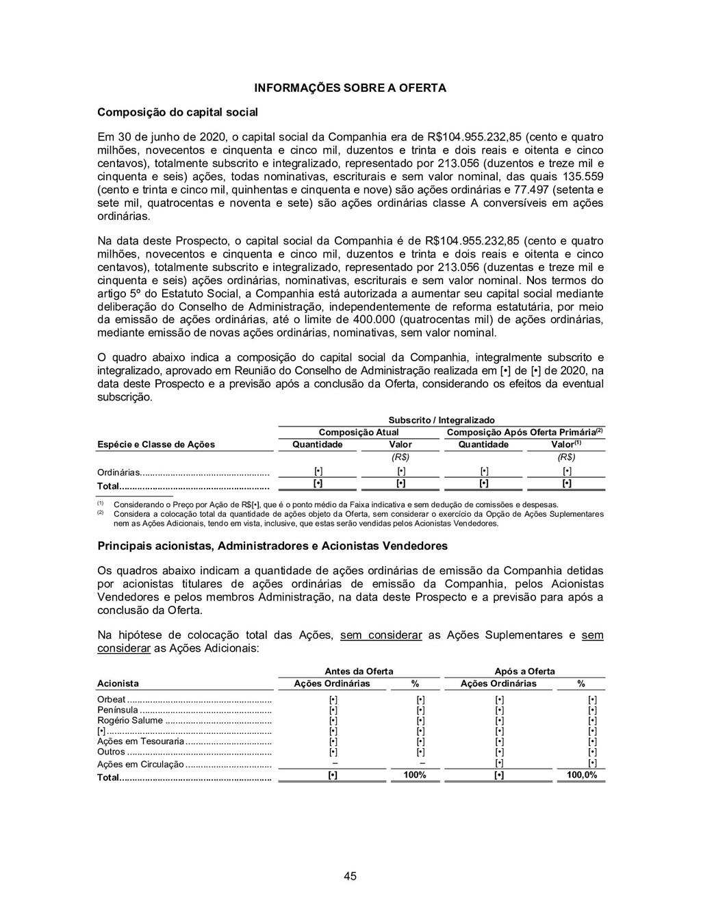 45 INFORMAÇÕES SOBRE A OFERTA Composição do cap...
