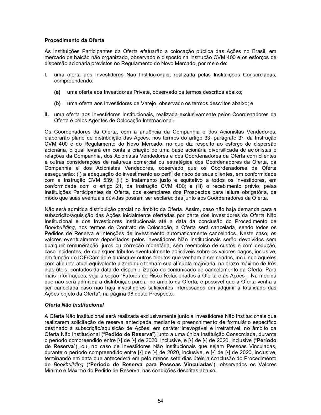 54 Procedimento da Oferta As Instituições Parti...