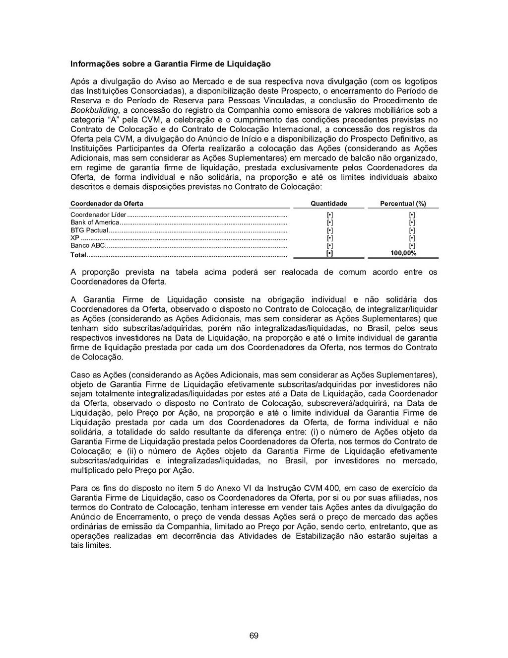 69 Informações sobre a Garantia Firme de Liquid...
