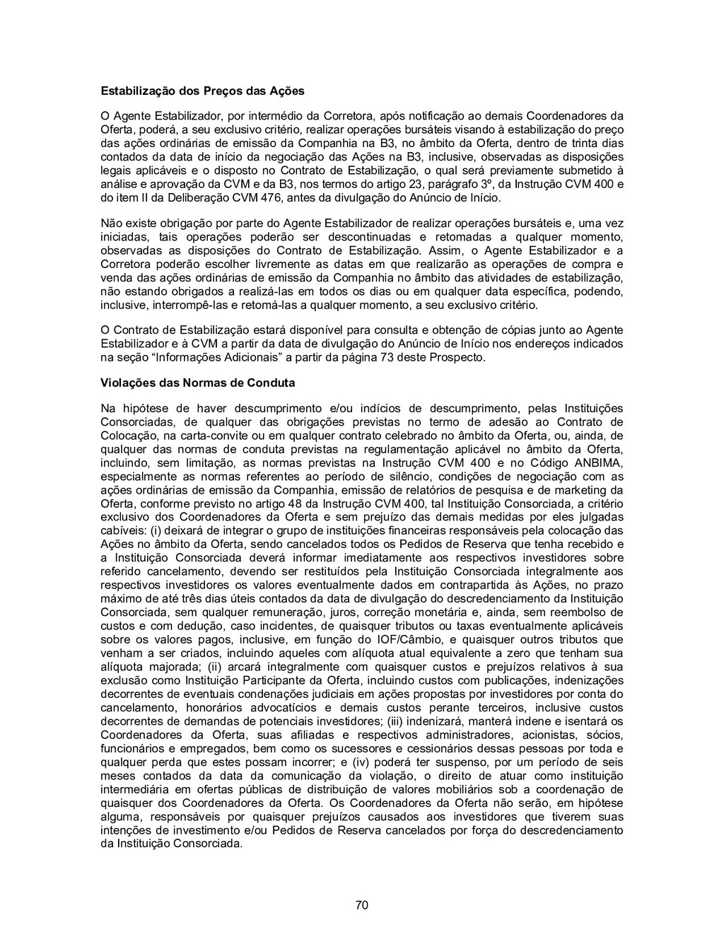 70 Estabilização dos Preços das Ações O Agente ...