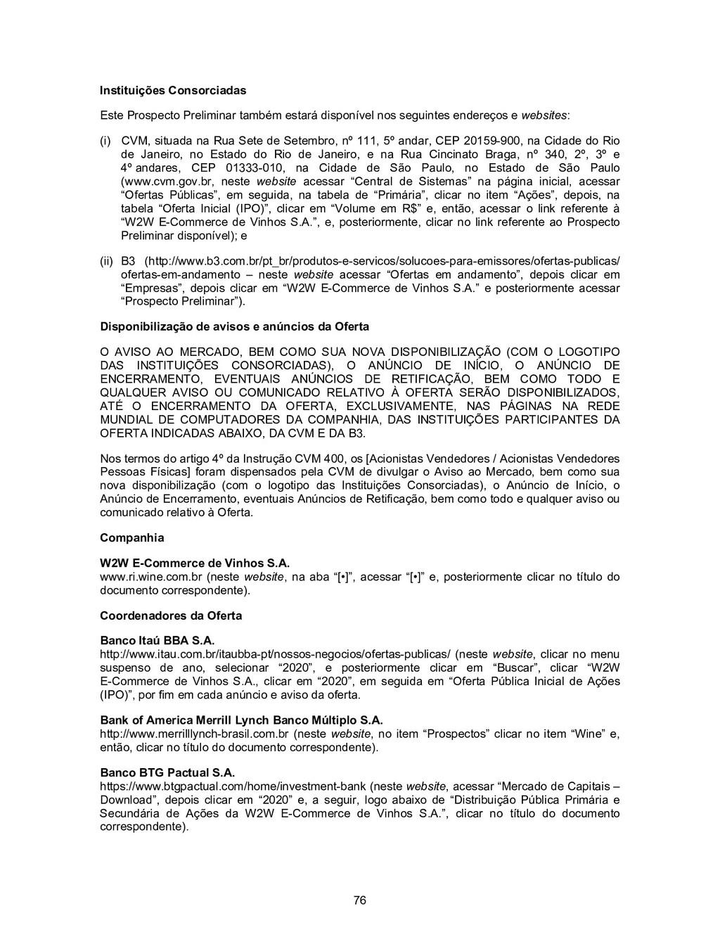 76 Instituições Consorciadas Este Prospecto Pre...