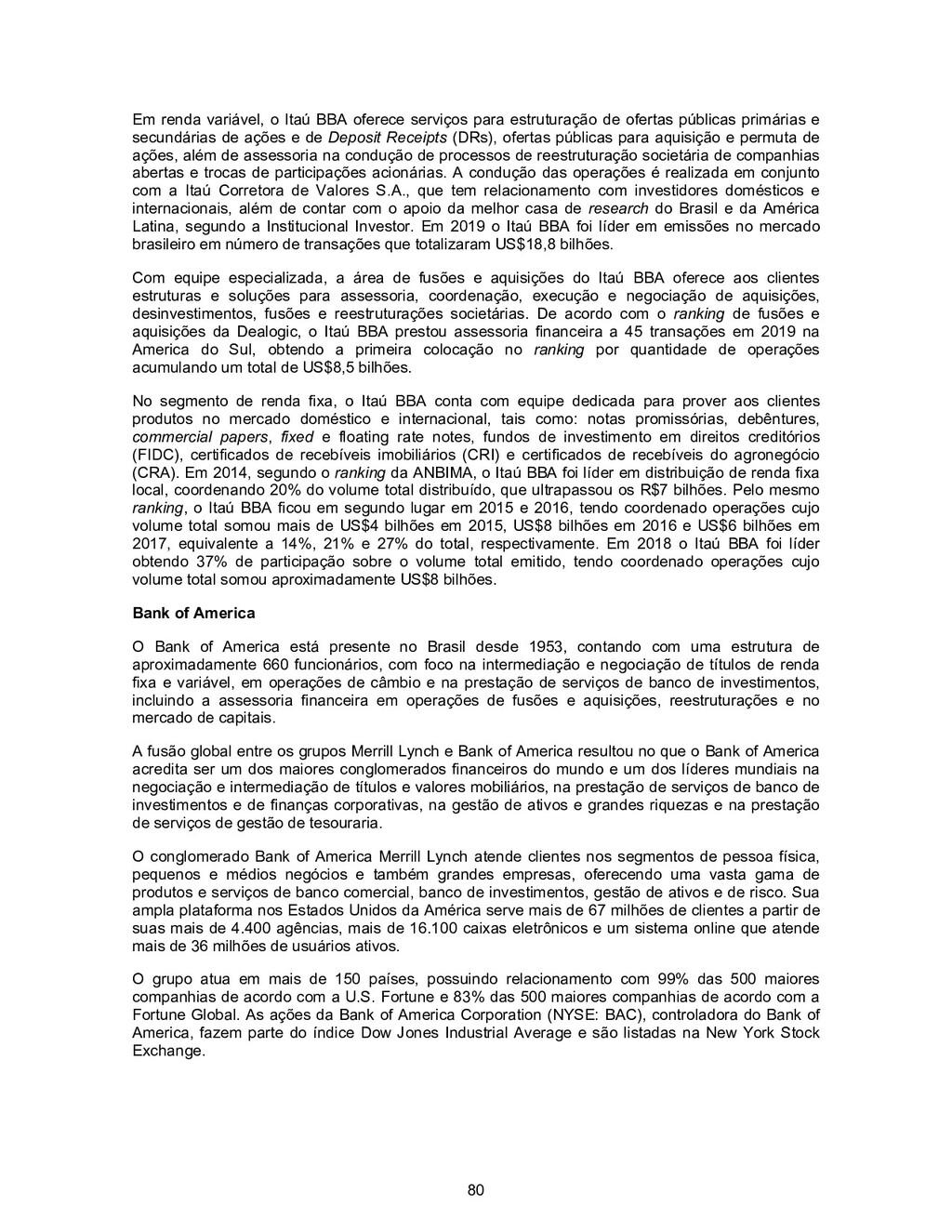 80 Em renda variável, o Itaú BBA oferece serviç...