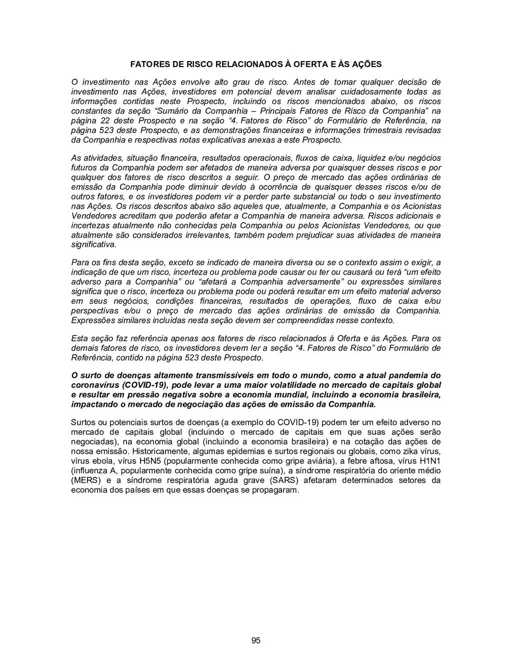 95 FATORES DE RISCO RELACIONADOS À OFERTA E ÀS ...