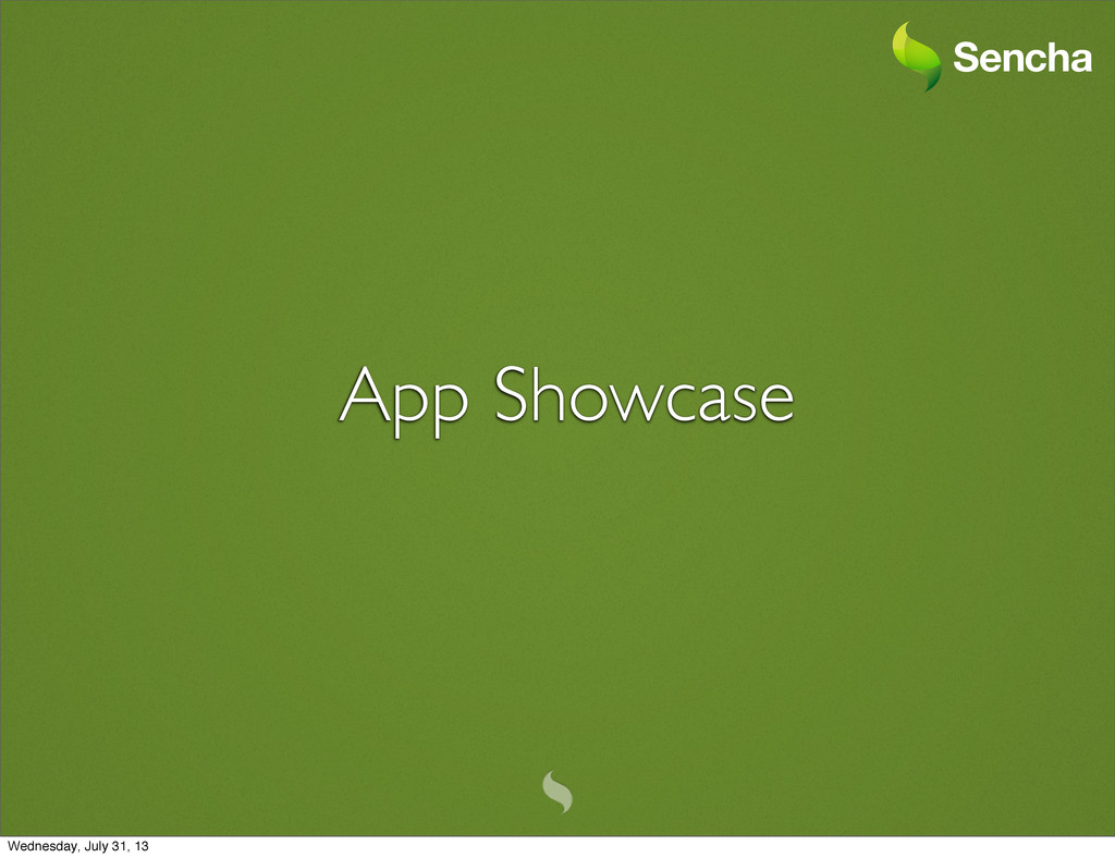 App Showcase Wednesday, July 31, 13