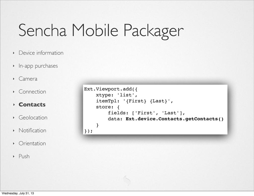 Sencha Mobile Packager ‣ Device information ‣ I...