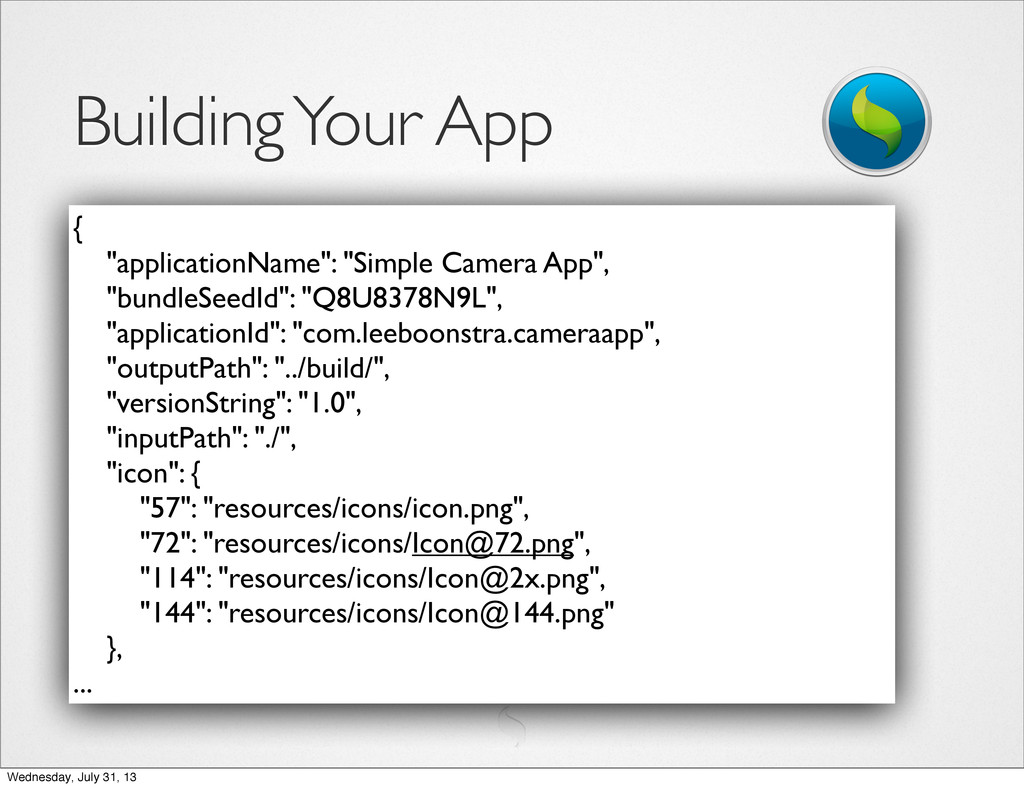 """Building Your App { """"applicationName"""": """"Simple ..."""