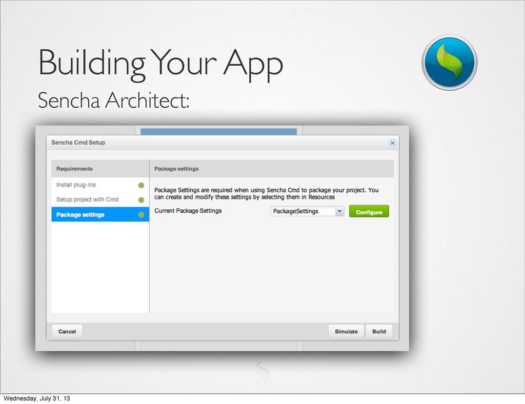 Building Your App Sencha Architect: Wednesday, ...