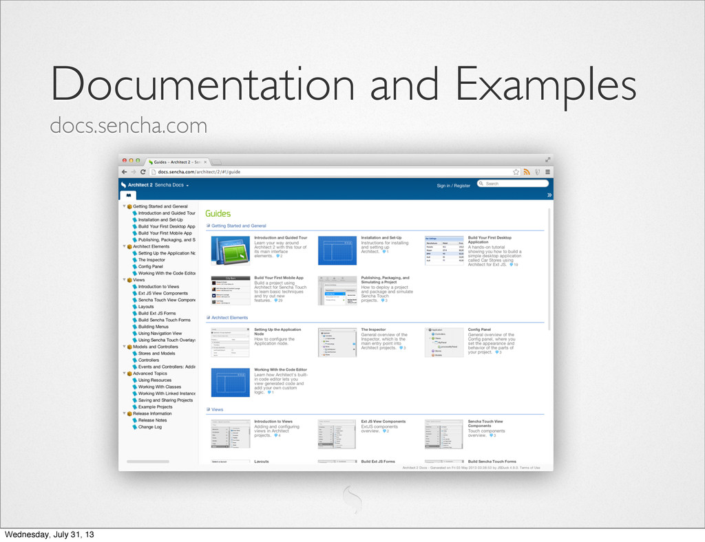 Documentation and Examples docs.sencha.com Wedn...