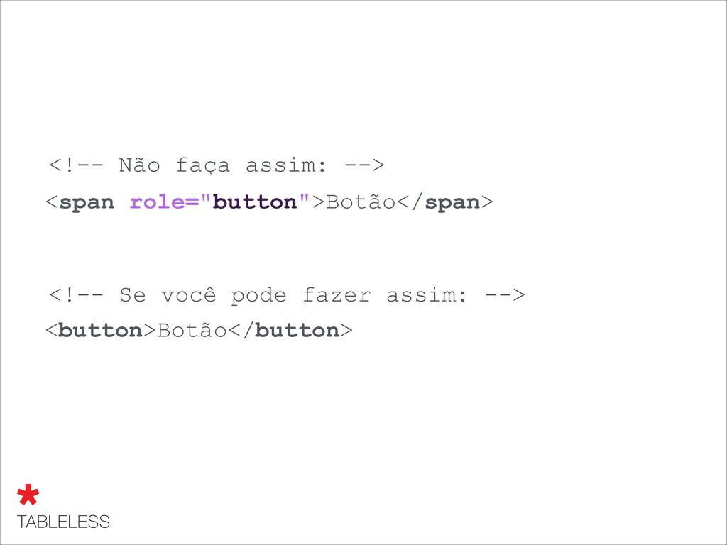 """<span role=""""button"""">Botão</span> <!-- Não faça ..."""