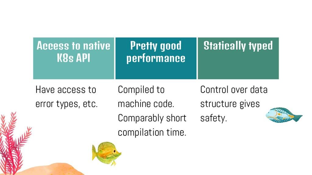 Access to native K8s API Pretty good performanc...