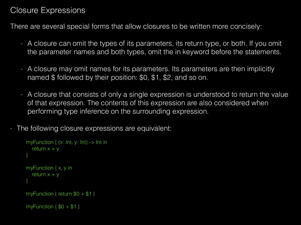Closure Expressions There are several special f...
