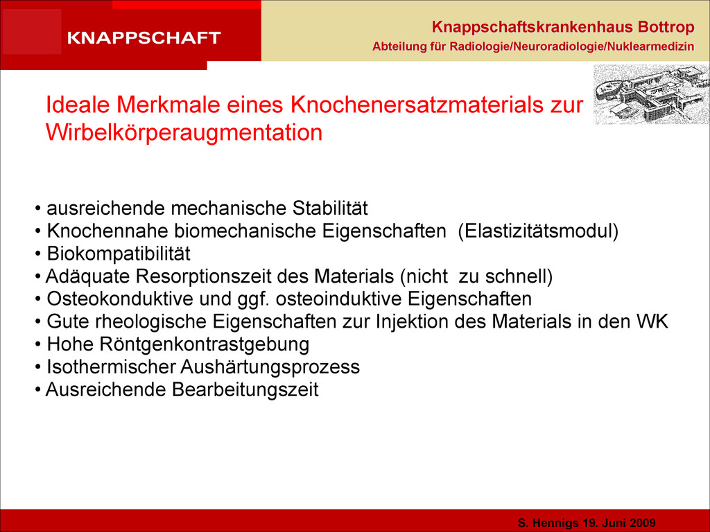 S. Hennigs 19. Juni 2009 Knappschaftskrankenhau...