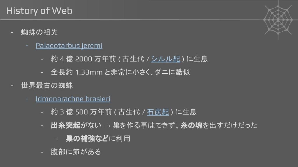History of Web - 蜘蛛の祖先 - Palaeotarbus jeremi - ...