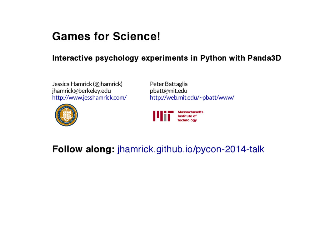 Games for Science! Interactive psychology exper...