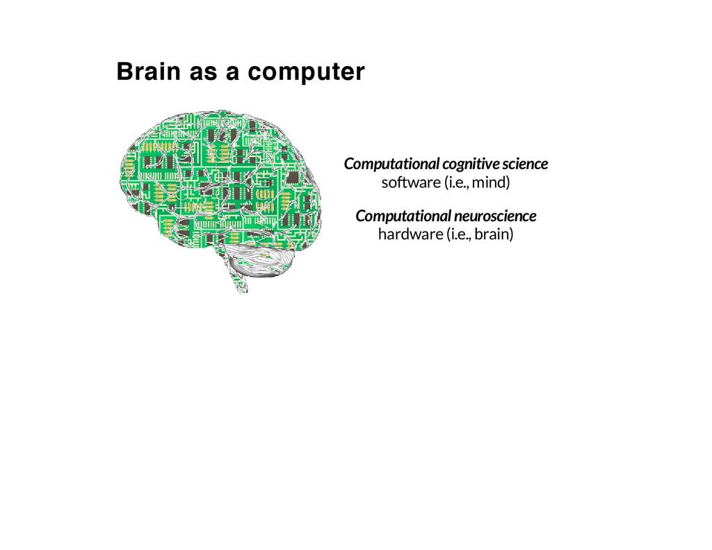 Brain as a computer Computational cognitive sci...