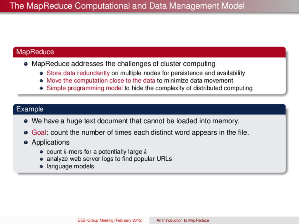 The MapReduce Computational and Data Management...