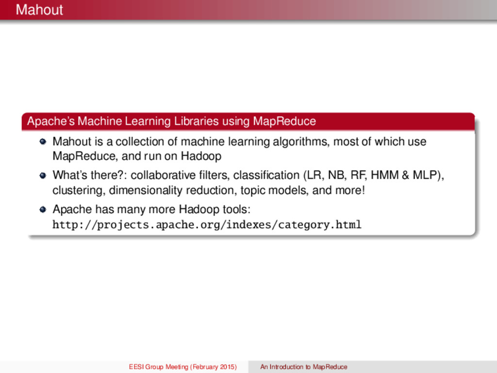 Mahout Apache's Machine Learning Libraries usin...