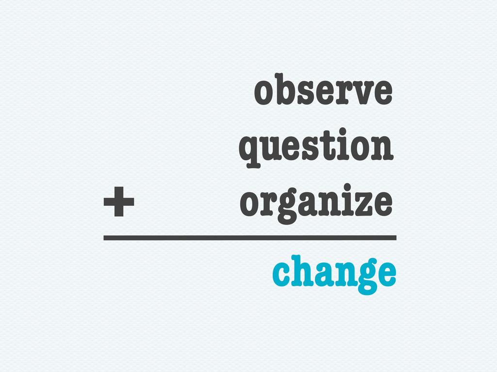 observe question organize + change