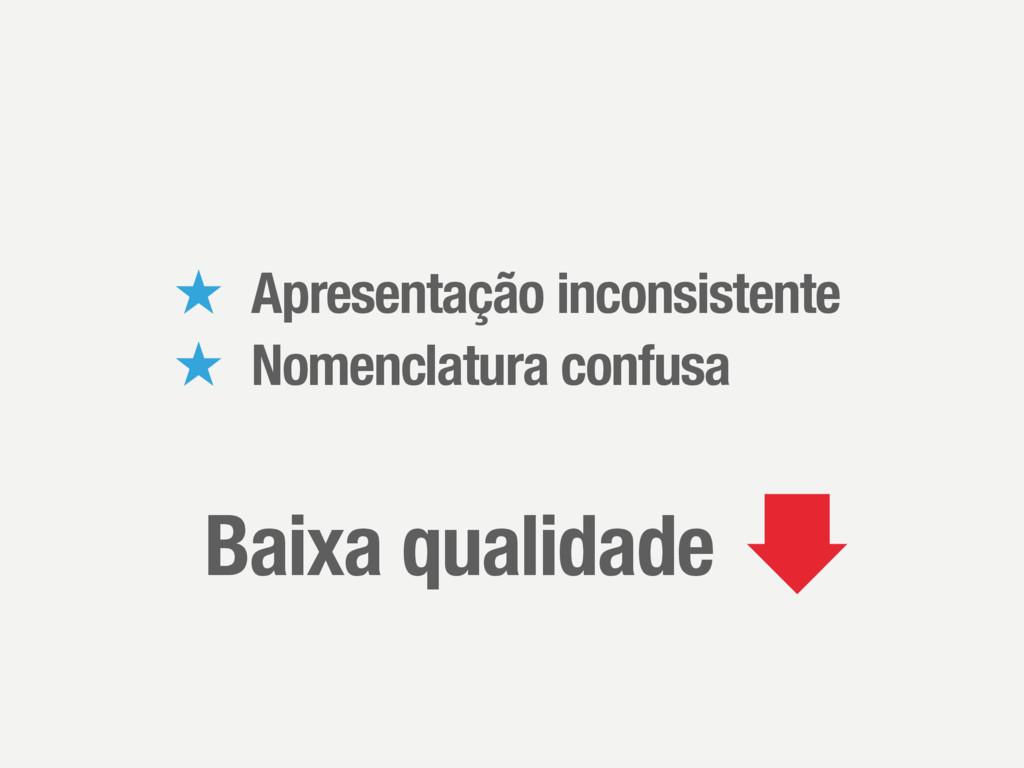 ̣ Apresentação inconsistente ̣ Nomenclatura con...