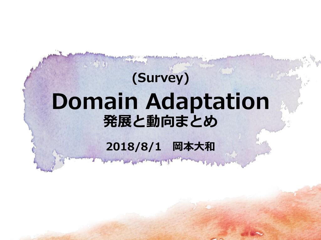 2018/8/1 岡本大和 (Survey) Domain Adaptation 発展と動向ま...