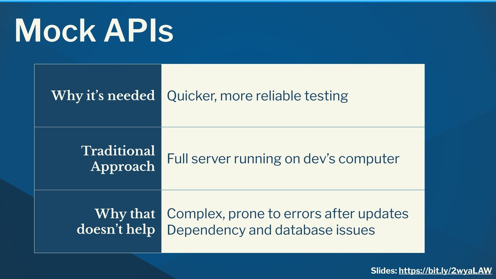 Mock APIs Why it's needed Quicker, more reliabl...