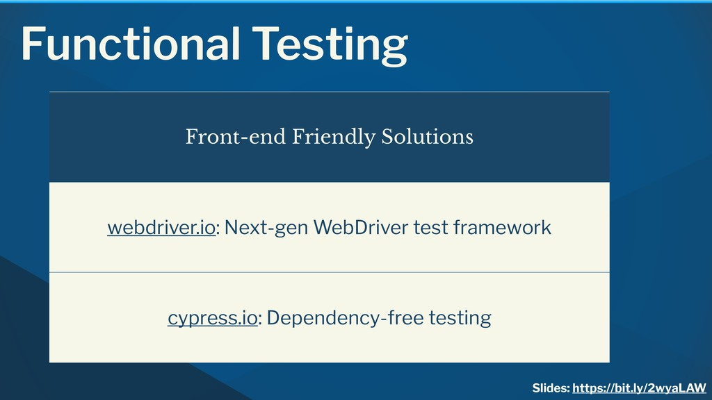 Functional Testing Front-end Friendly Solutions...