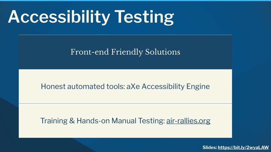 Accessibility Testing Front-end Friendly Soluti...