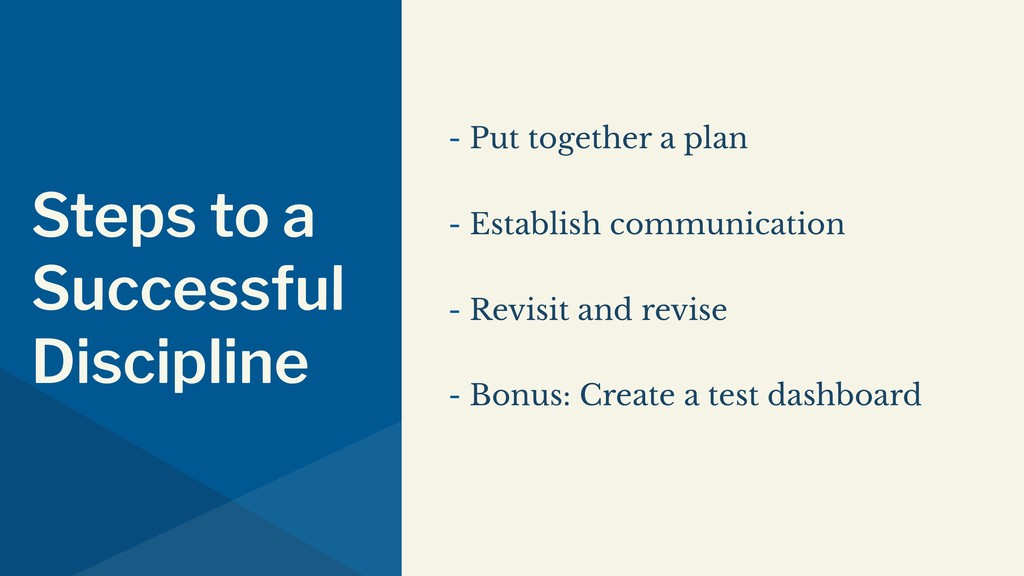 Steps to a Successful Discipline - Put together...