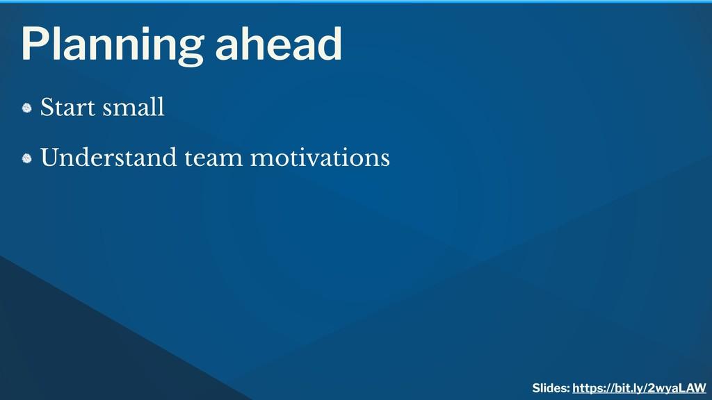 Planning ahead Start small Understand team moti...