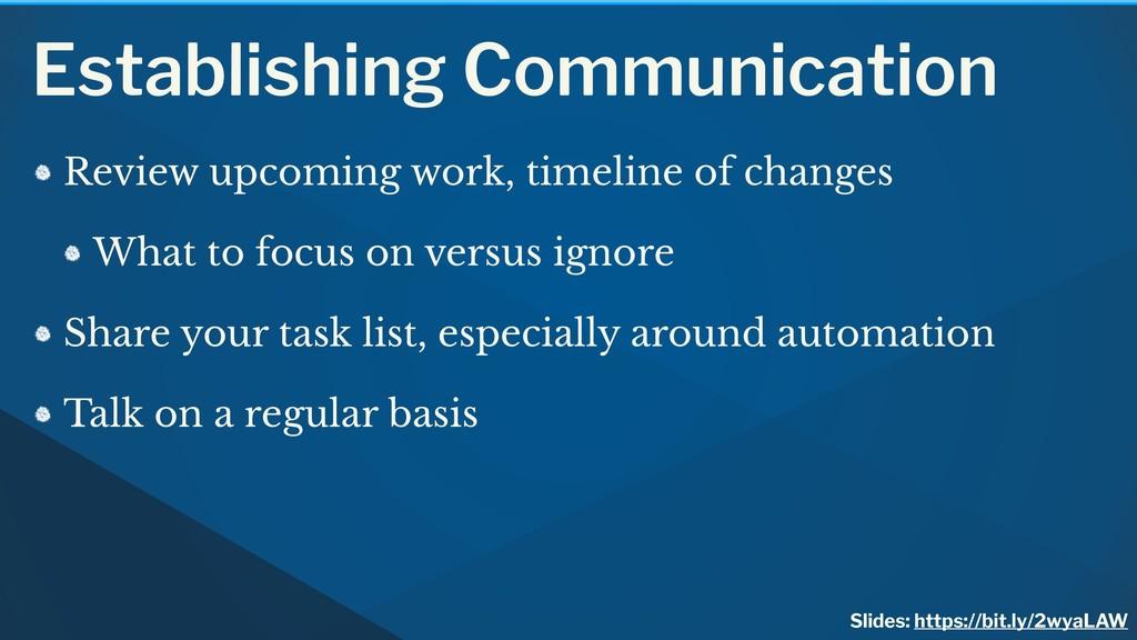 Establishing Communication Review upcoming work...