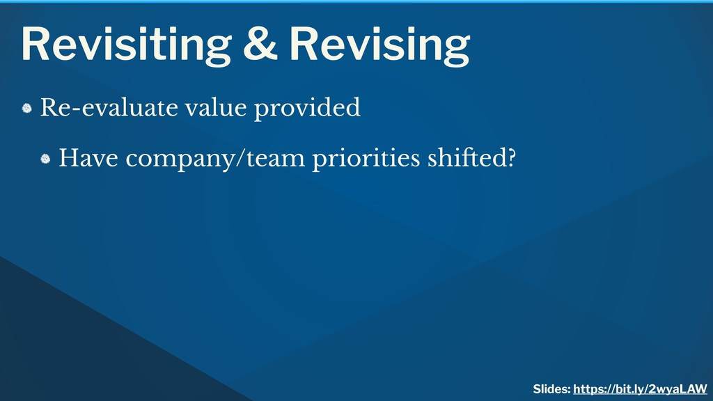 Revisiting & Revising Re-evaluate value provide...