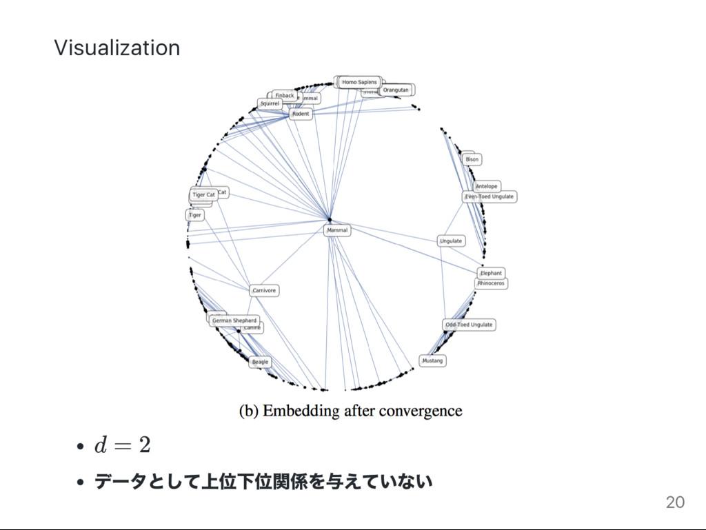 Visualization d = 2 デー タとして上位下位関係を与えていない 20
