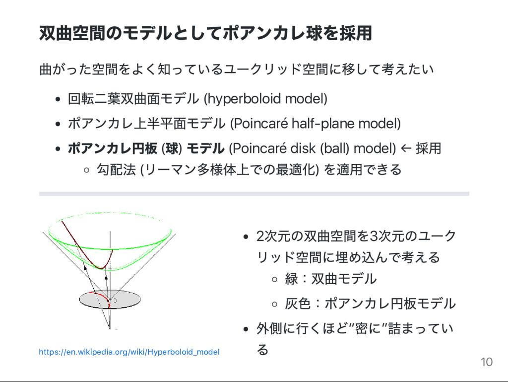 双曲空間のモデルとしてポアンカレ球を採用 曲がった空間をよく知っているユー クリッド空間に移し...