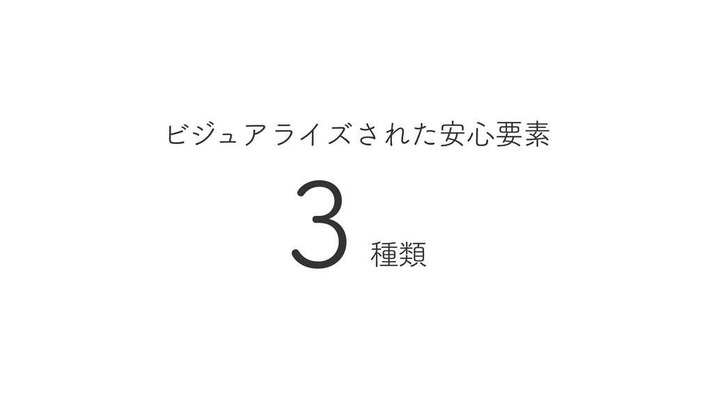 ビジュアライズされた安心要素 3 種類