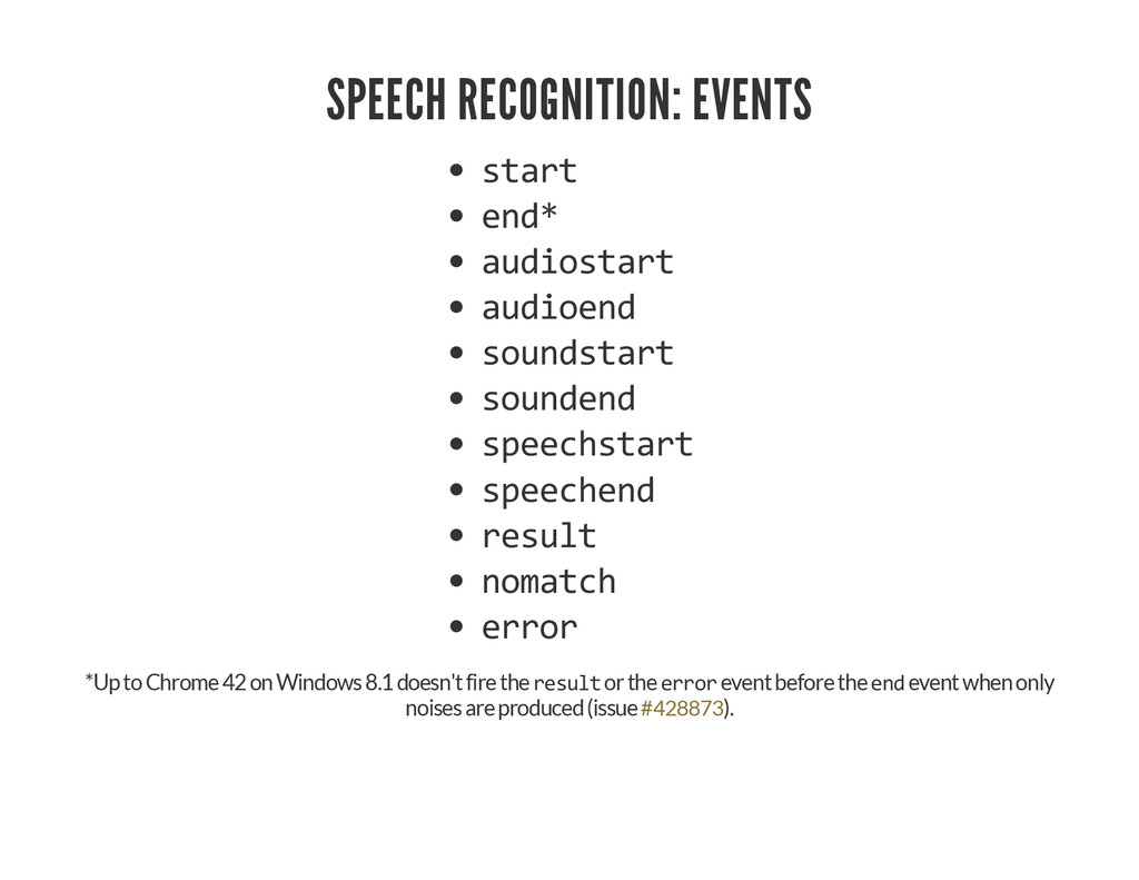 SPEECH RECOGNITION: EVENTS start end* audiostar...