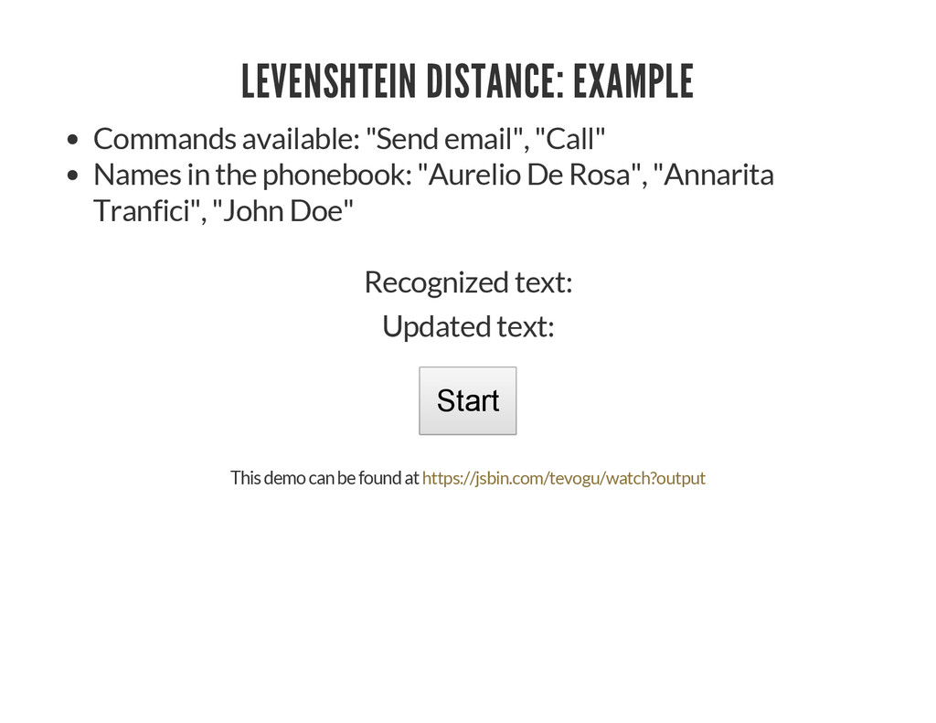 LEVENSHTEIN DISTANCE: EXAMPLE Commands availabl...