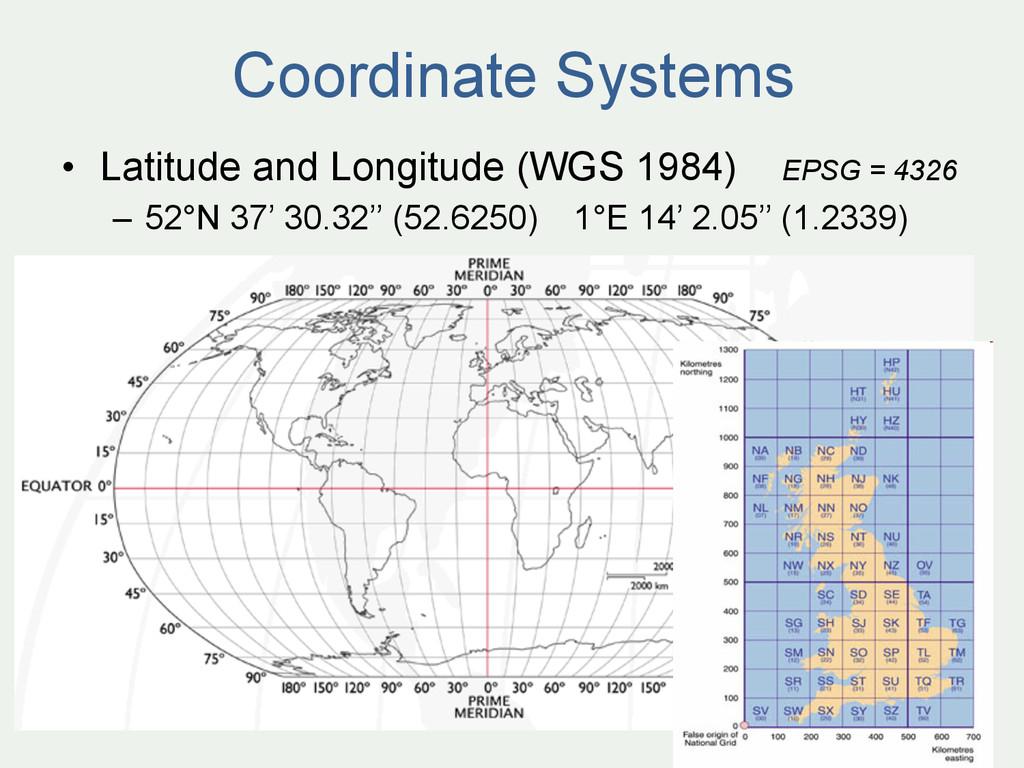 • Latitude and Longitude (WGS 1984) EPSG = 432...
