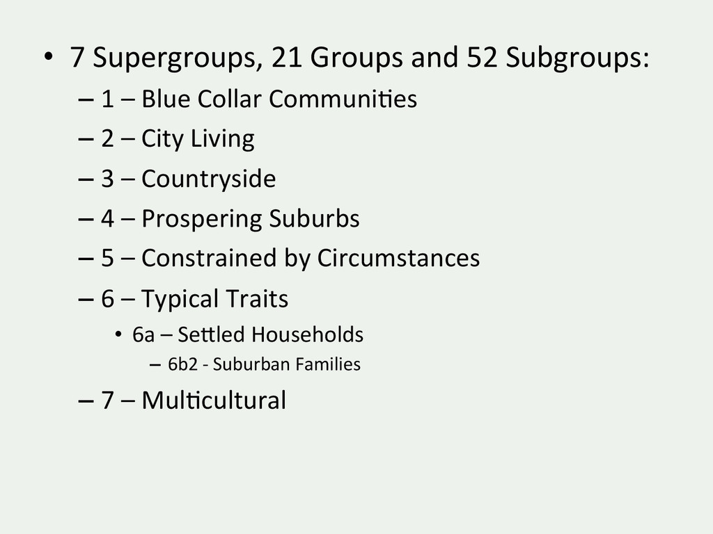 • 7 Supergroups, 21 Groups and ...
