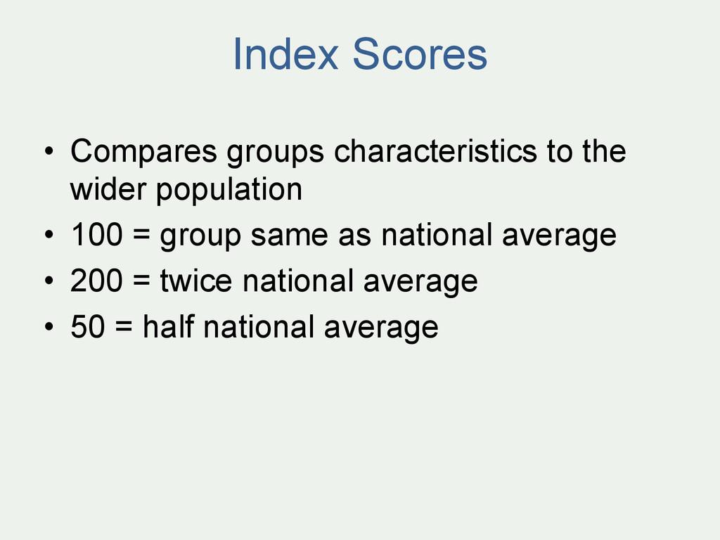 Index Scores • Compares groups characteristics...