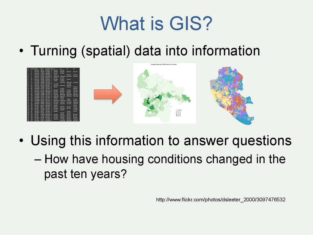 What is GIS? • Turning (spatial) data into inf...