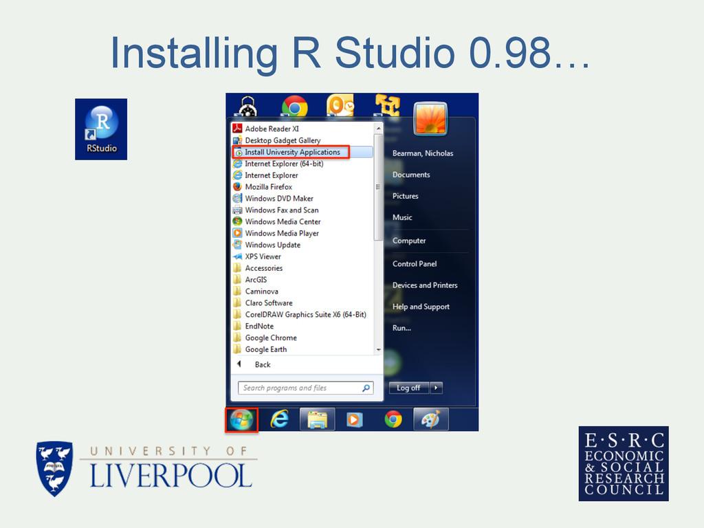 Installing R Studio 0.98…