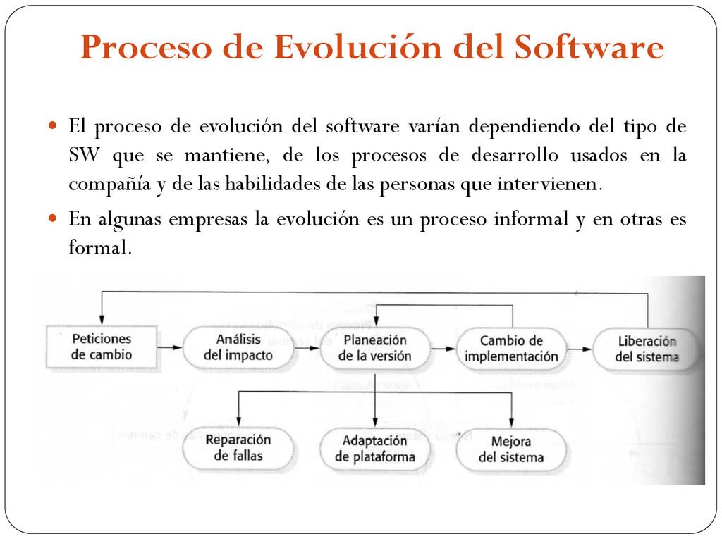 Proceso de Evolución del Software  El proceso ...