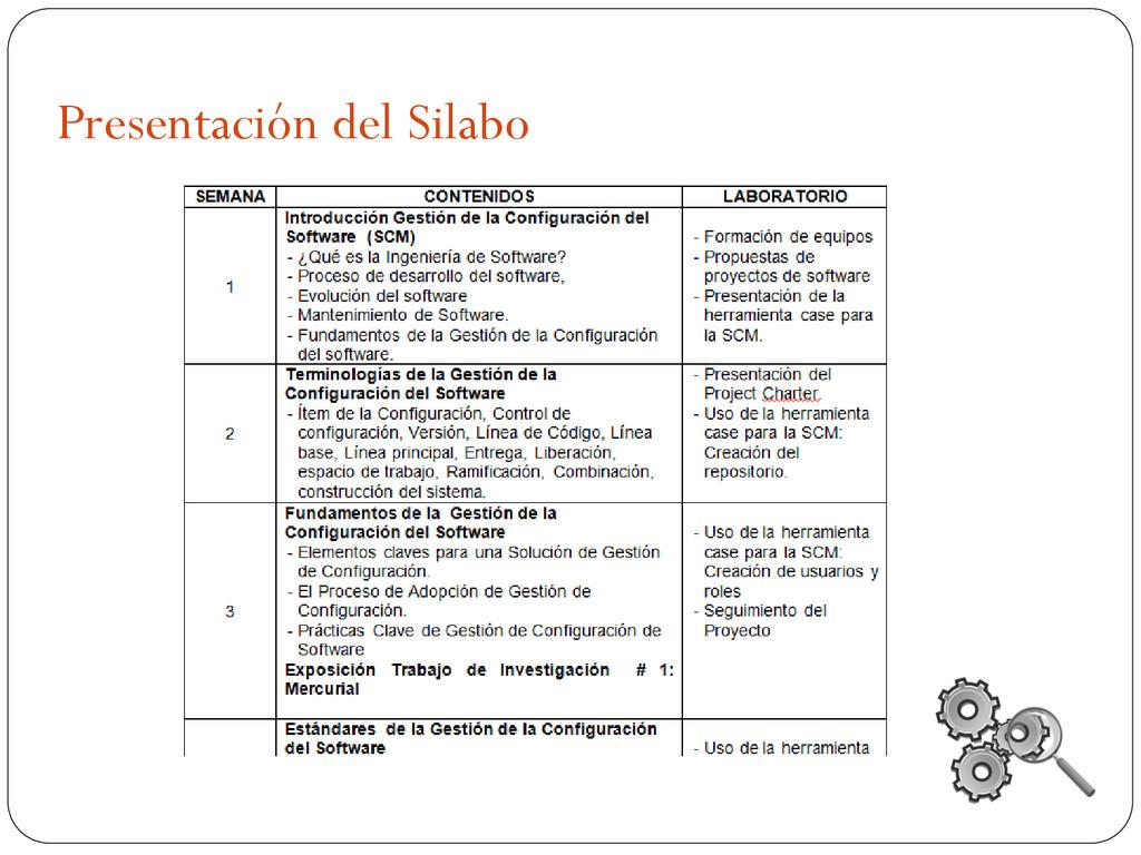 Presentación del Silabo