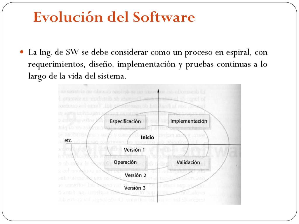 Evolución del Software  La Ing. de SW se debe ...